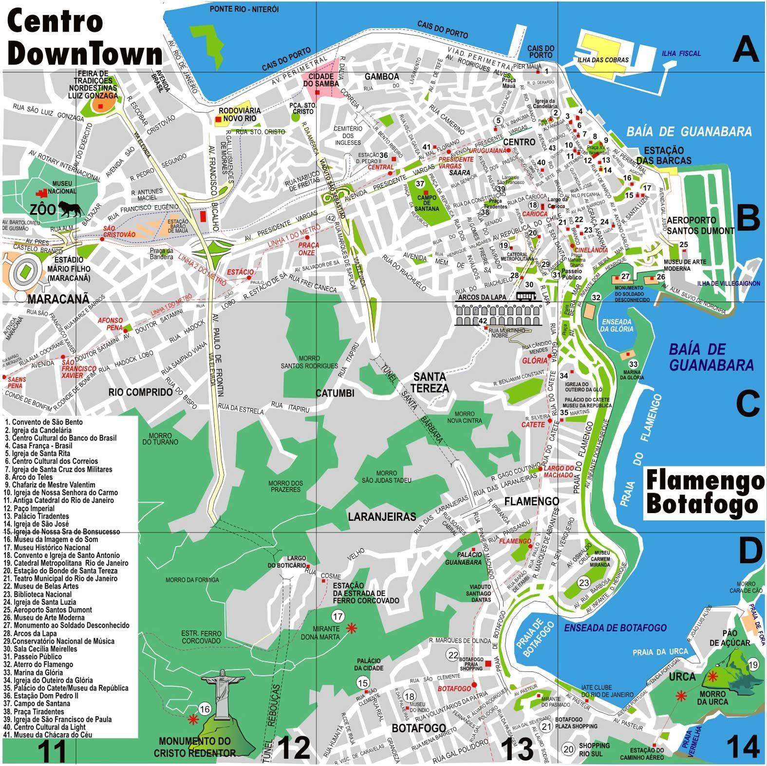 Map of Rio de Janeiro Downtown Copacabana Ipanema Barra da