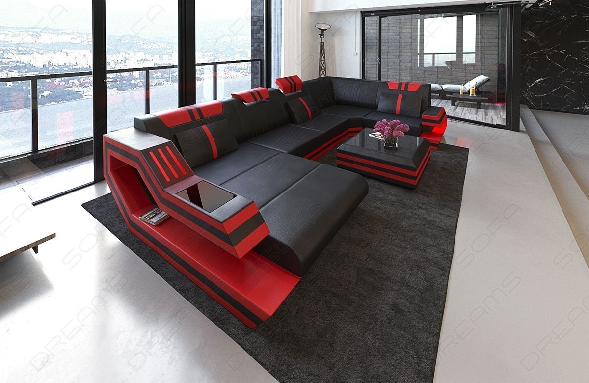 Design Sectional Sofa Hollywood U Shape With Led And Usb Modern