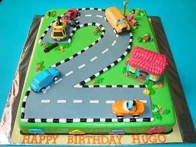 Car party such a cute idea for a cake Babas 2nd Birthday Party