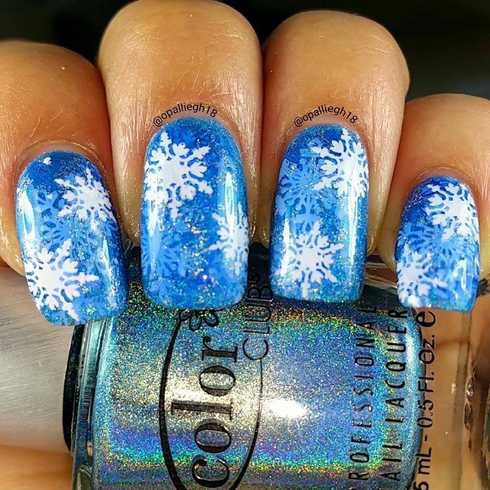 Jelly Holo Snowflakes- Nail Stamping