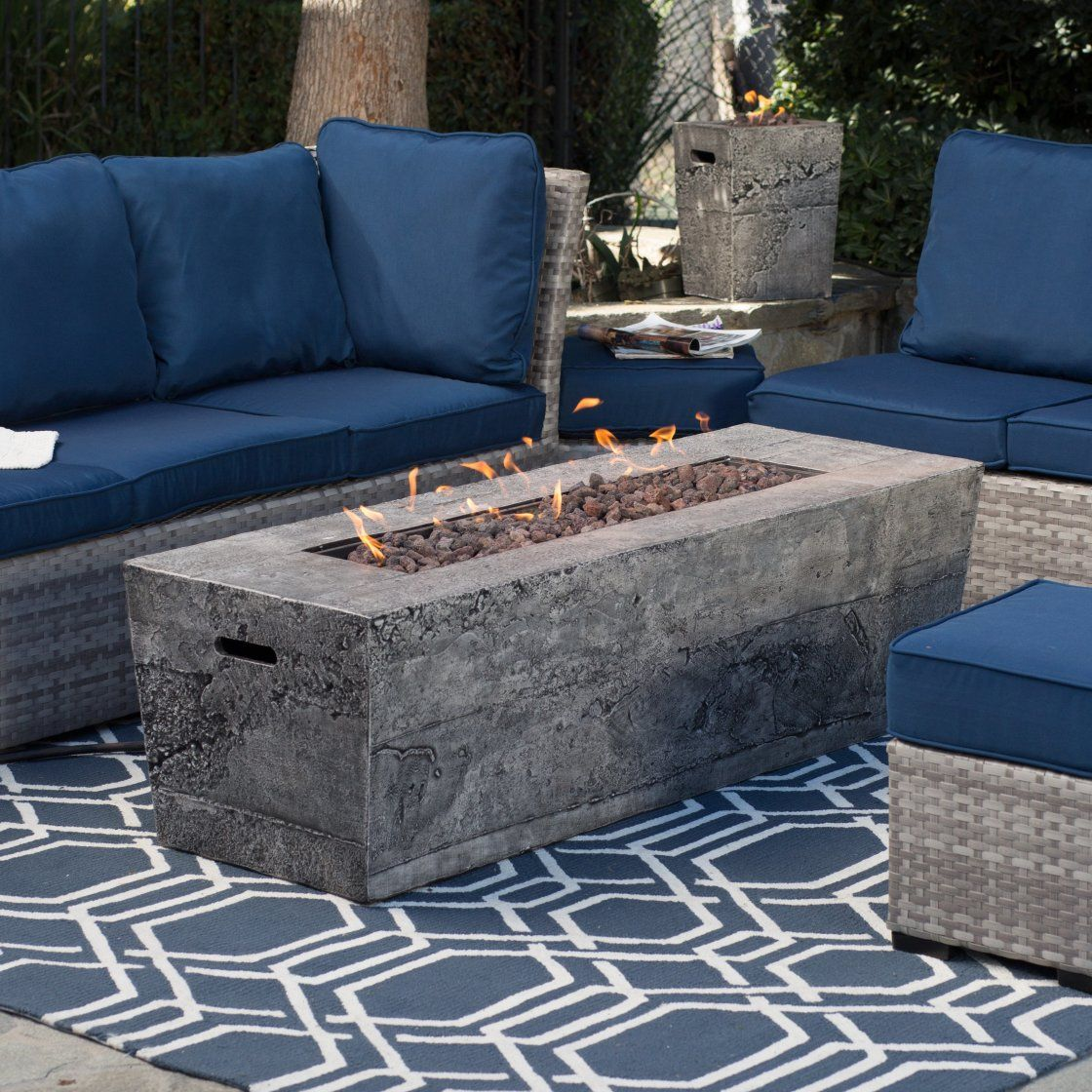 Admirable Furniture Ideas For Outdoor Cafe Plan Design Within Rectangular Shaped Grey Cement Fire Pit Table And C Gas Fire Pit Table Gas Firepit Fire Pit Table
