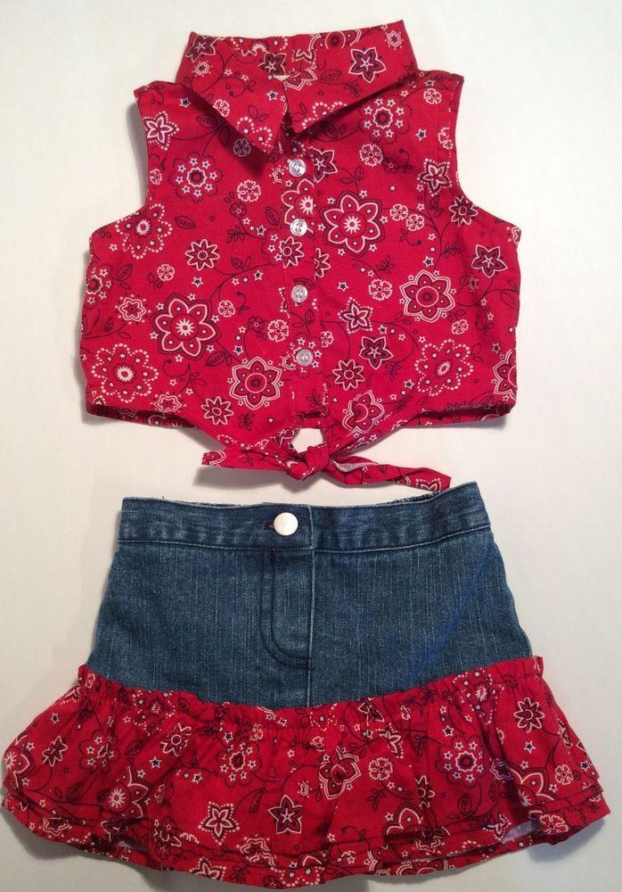 3191bb2144ffe Outfit Baby 6 9 Girls Summer Infant Red Denim Jean Bandana Skirt Crop Top  Set