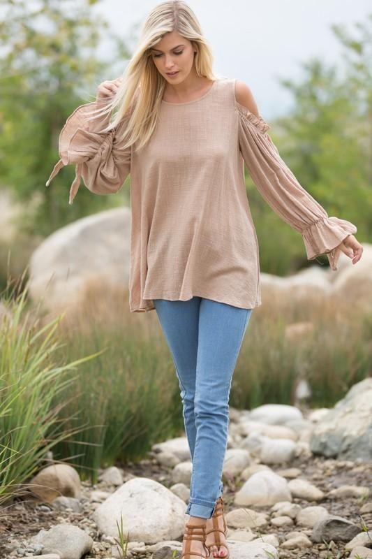 cd6abb7c0b723 Almond Long Sleeve Gathered Elastic Wrist Ruffle Cold Shoulder Cotton Slub  Gauze Round Neck Tunic Top.  Sizes Available  Small