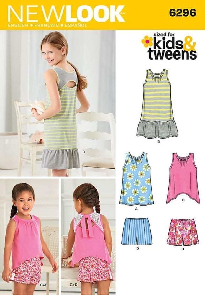 New look sewing pattern girls\'s dress top & shorts sizes 3 - 14 kids ...