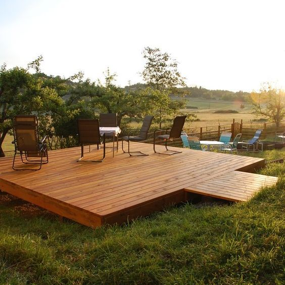 Free Building Plan For A Transitional Backyard Deck: How To Build Floating Deck Plans
