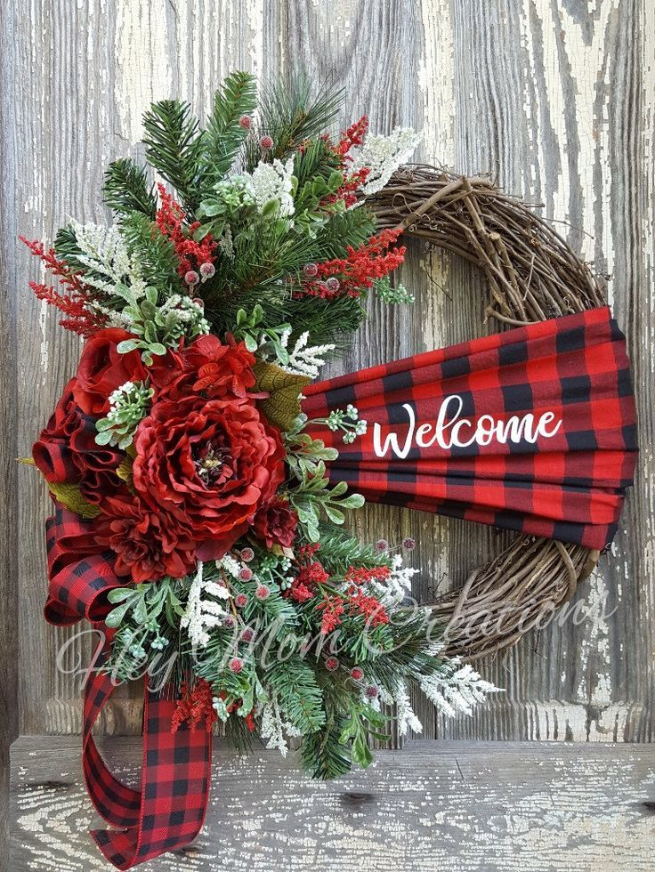 Buffalo plaid Christmas wreath, Rustic Christmas wreath, Christmas wreath for front door, Buffalo plaid decor