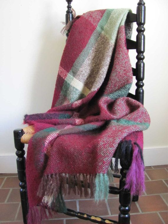 Warm Red Plaid Hand Woven Mohair Throw Blanket Cozy Hygge Couch Blanket Rustic Country Home Decor Mountain Cabin Modern Farmhouse Blanket Bedroom Throw Blanket Plaid Throw Blanket Throw Blanket