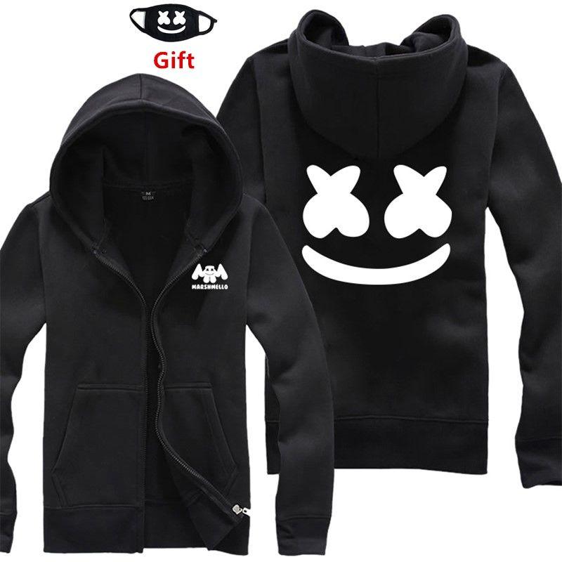 3fc2472d8ae Mask as Gift S to 3XL plus size DJ Marshmello men women hoodies sweatshirt  hip hop zipper jacket tracksuits