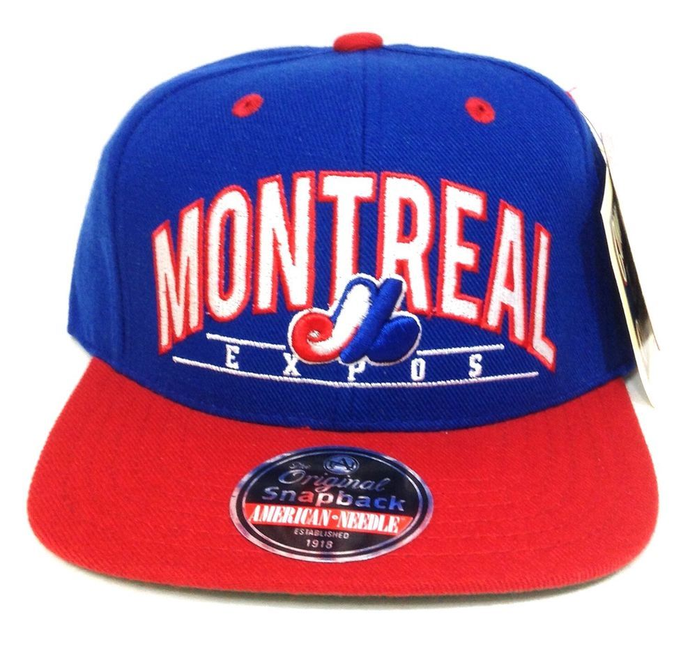New MONTREAL EXPOS SNAPBACK HAT Blue Red Flat-Bill Throwback Vtg-look Men  Women  AmericanNeedle  MontrealExpos edc0a94f72