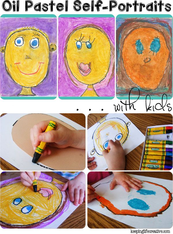 Art with Kids | How to create Oil Pastel Self-Portraits