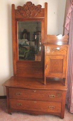 L30p Antique Oak Gentlemans Dresser With Hat Compartment