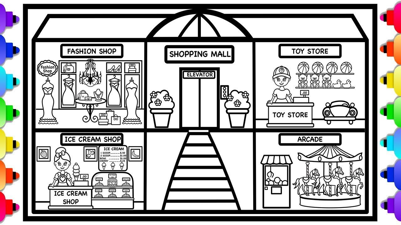 Learn How To Draw A Shopping Mall Shopping Mall Coloring Page Coloring Pages Printable Coloring Book Learn To Draw