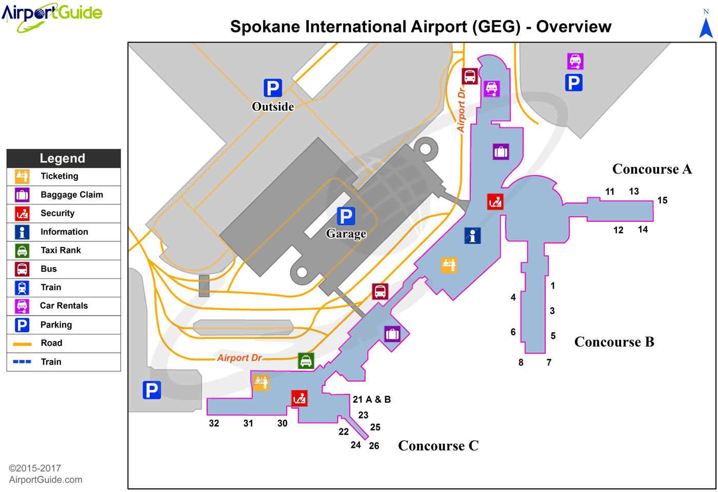 Spokane Spokane International (GEG) Airport Terminal Map