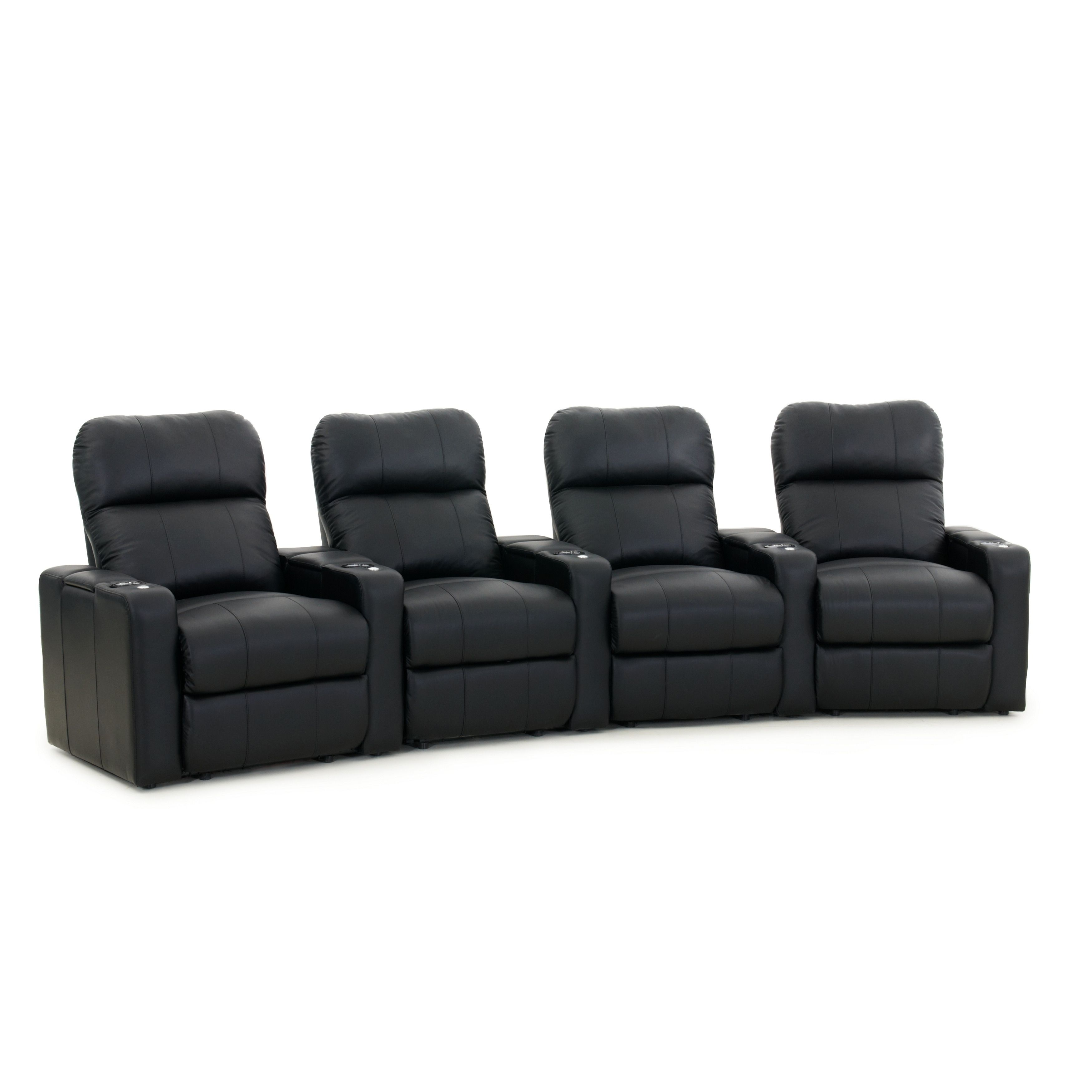 Octane Turbo XL700 Power Leather Home Theater Seating Set (Row of 4 ...