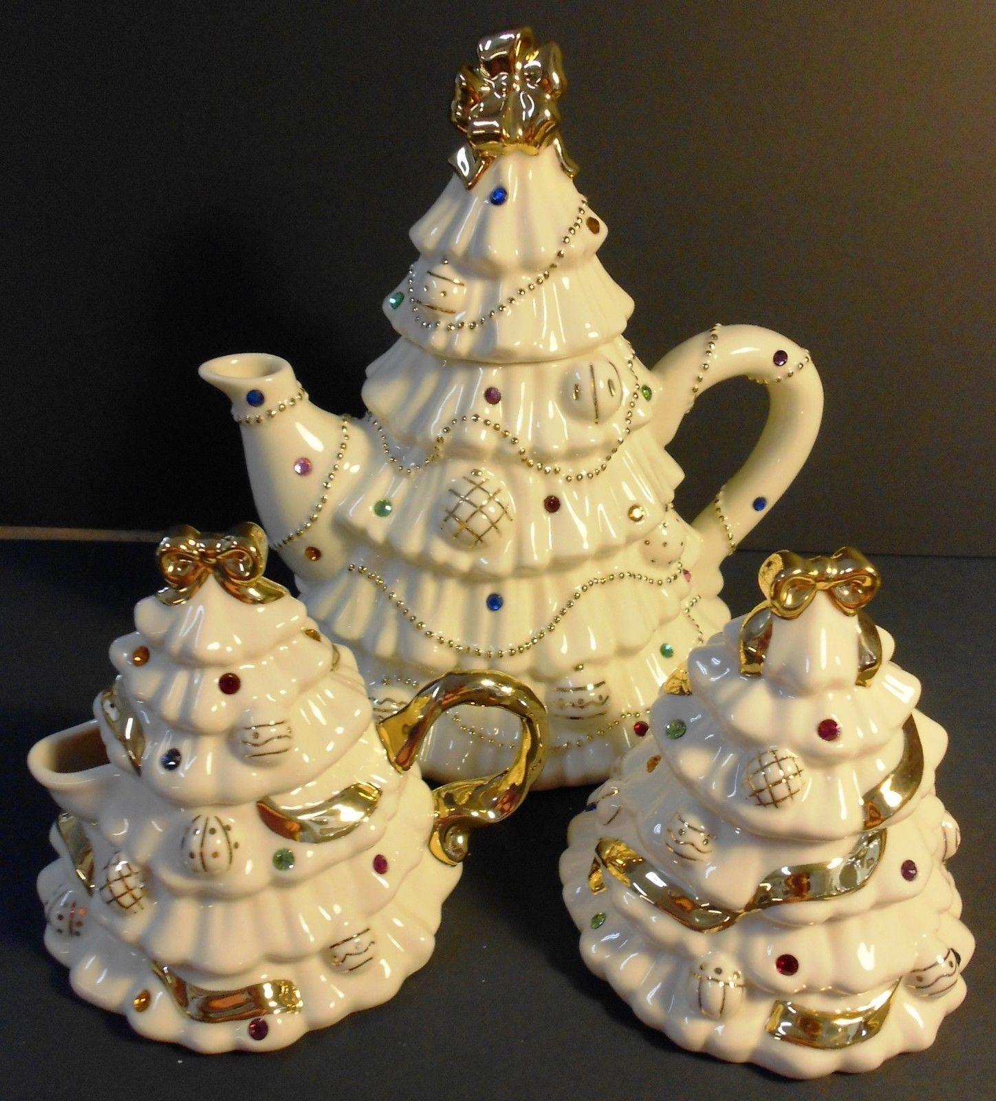 Lenox China Jeweled Christmas Tree Teapot Creamer Sugar Swarovsky with COA | eBay & Lenox China Jeweled Christmas Tree Teapot Creamer Sugar Swarovsky ...