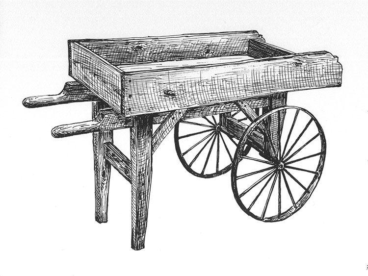 Old Fashioned Wooden Wooden wheelbarrow, Wheelbarrow