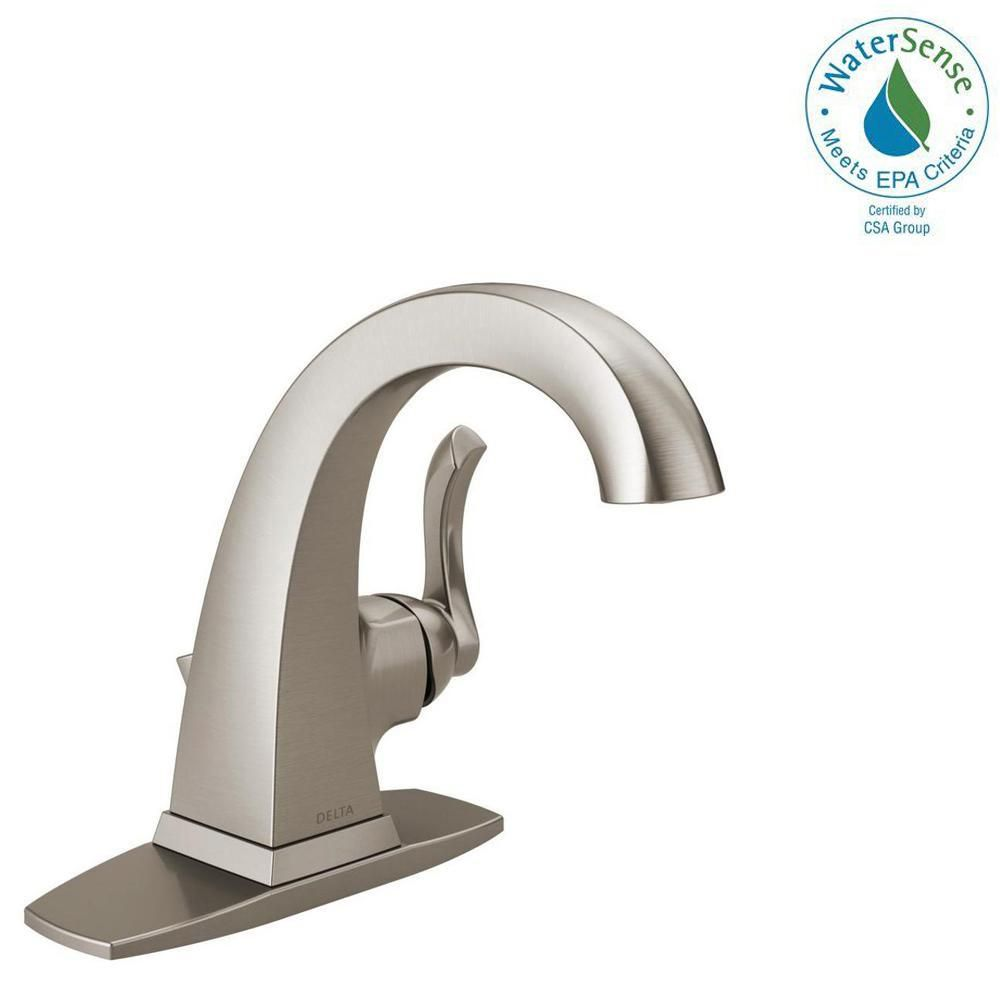 Delta Everly Single Hole Single Handle Bathroom Faucet In Spotshield Brushed Nickel 15741lf Sp The Home Depot Single Handle Bathroom Faucet Bathroom Faucets Faucet [ 1000 x 1000 Pixel ]