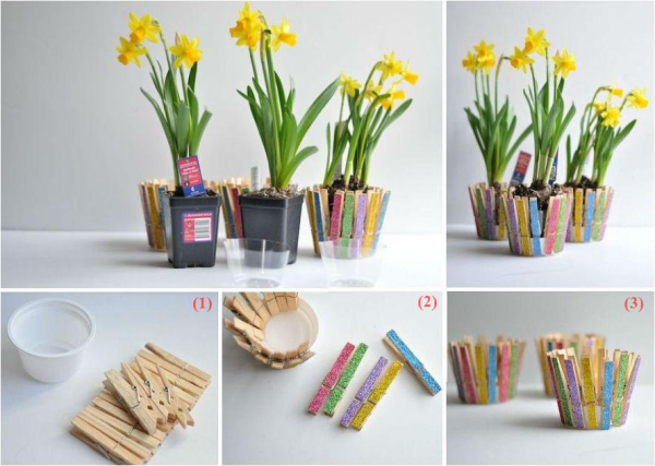Clothespin Flower Pot  You Can Do It Yourself - Find Fun Art Projects to Do