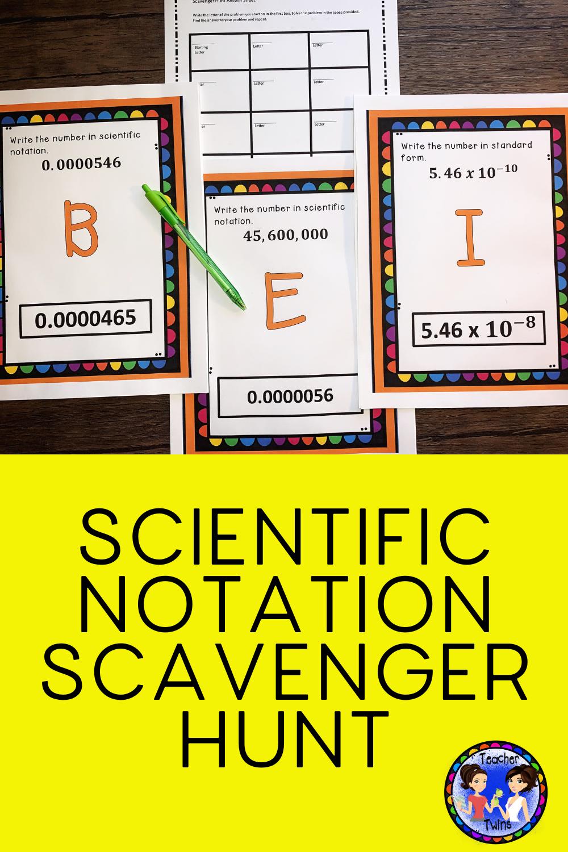Scientific Notation Scavenger Hunt Scientific notation