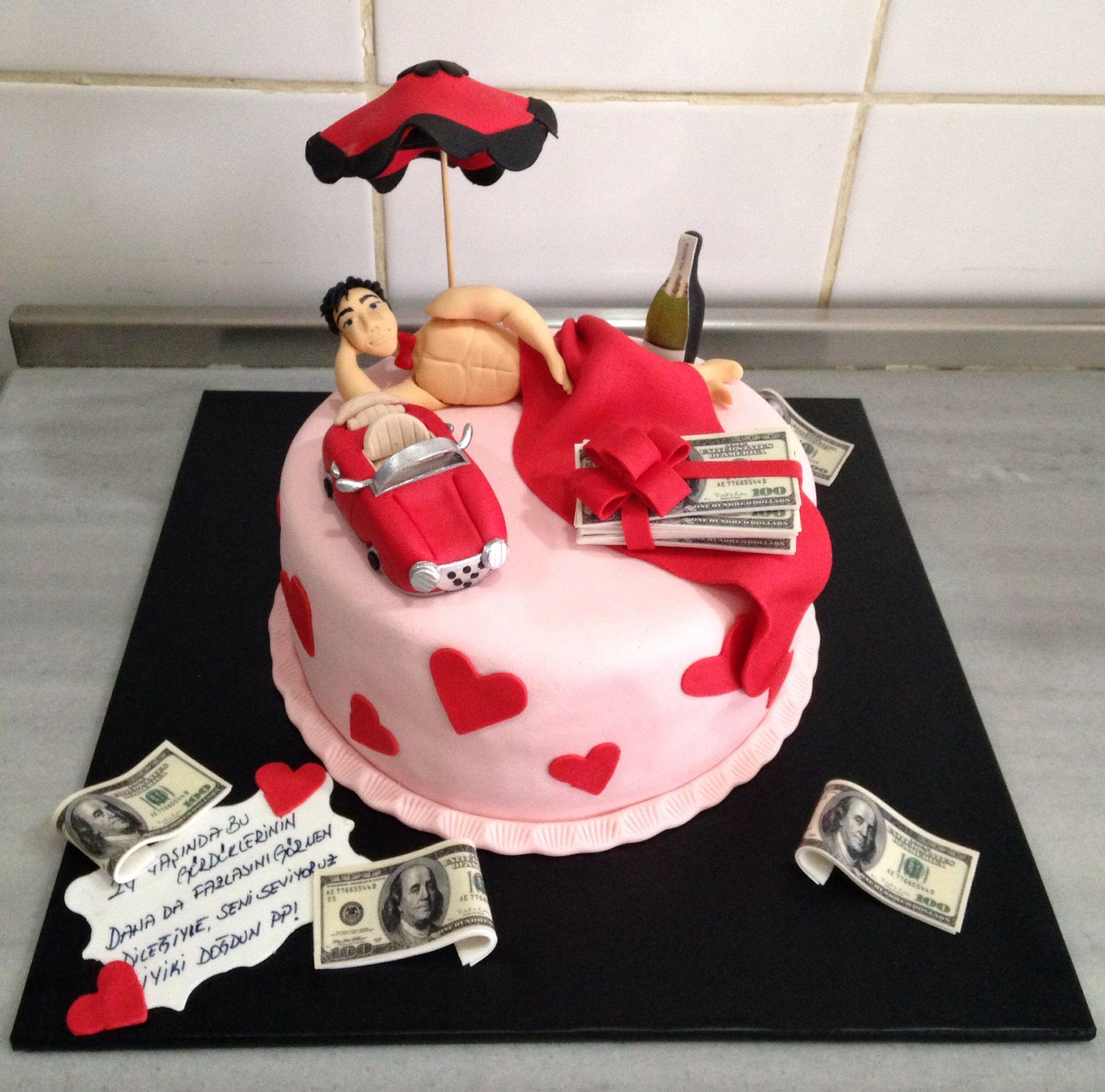 Amusing phrase sexy man with birthday cake shall