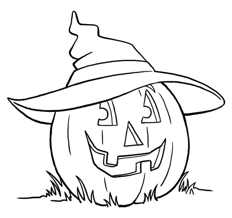 Zucca di Halloween disegno con il cappello da strega sull erba ... 93440506cdc5