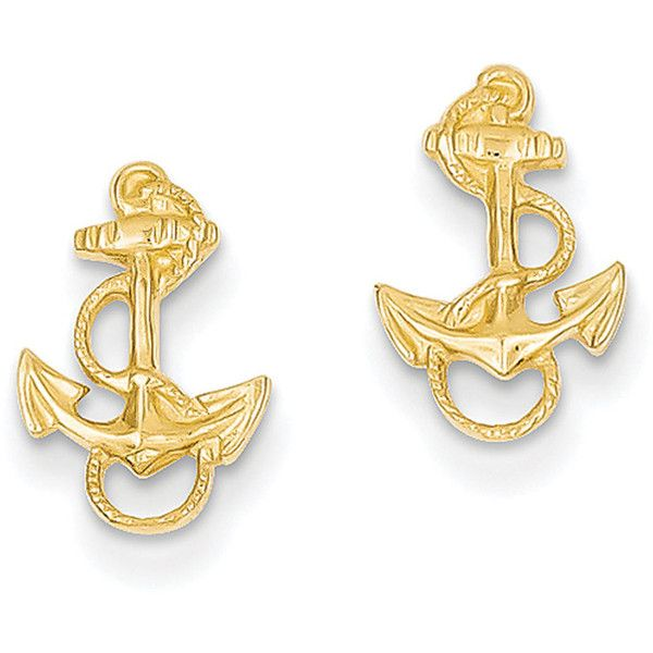 14k Yellow Gold Anchor With Rope Trim Post Earrings 64 Liked