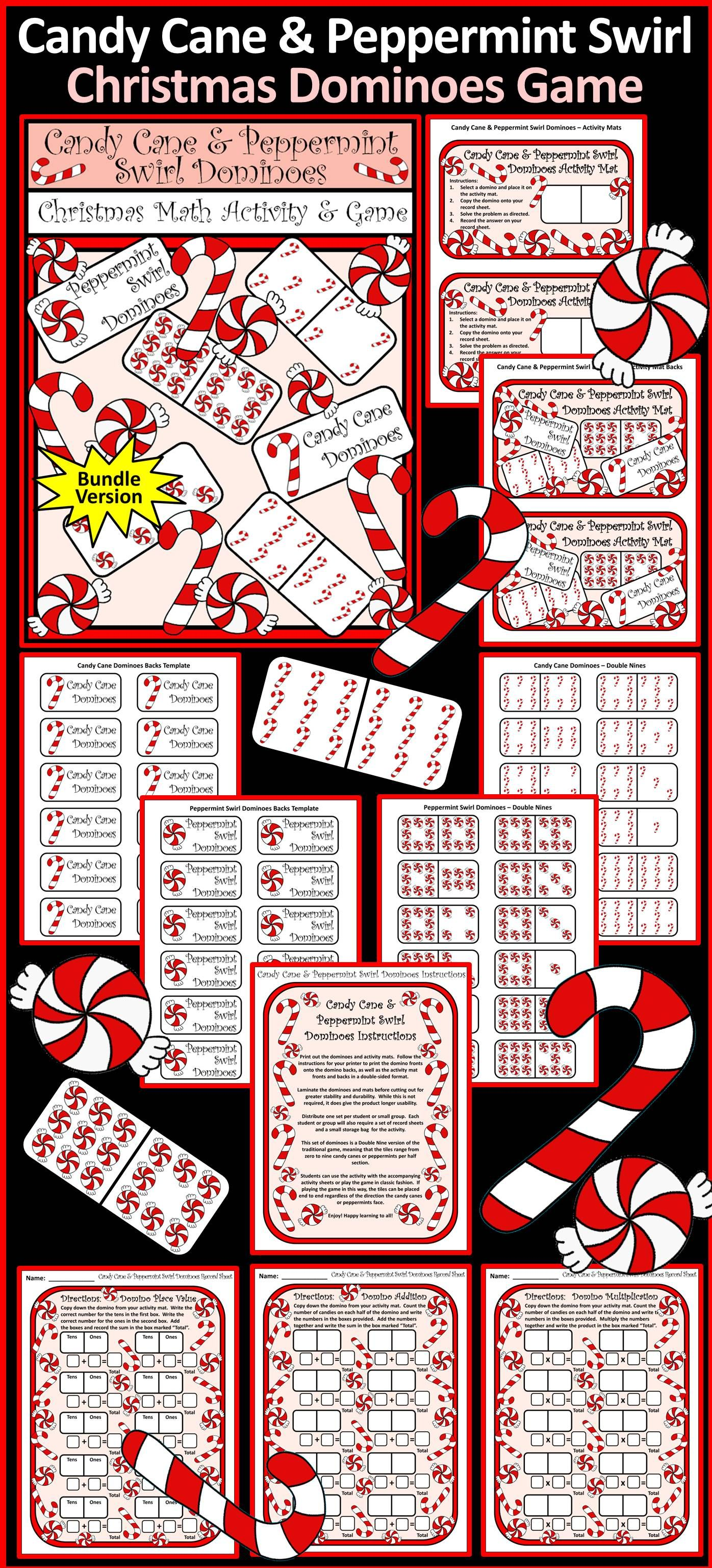 Christmas Activities Candy Cane Dominoes Christmas Math