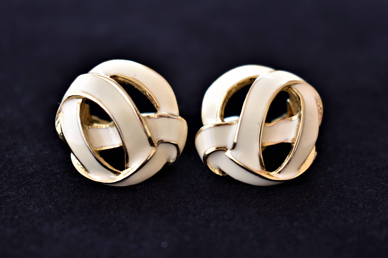 Vintage 80s Monet Geometric Knot Enamel Statement Earrings