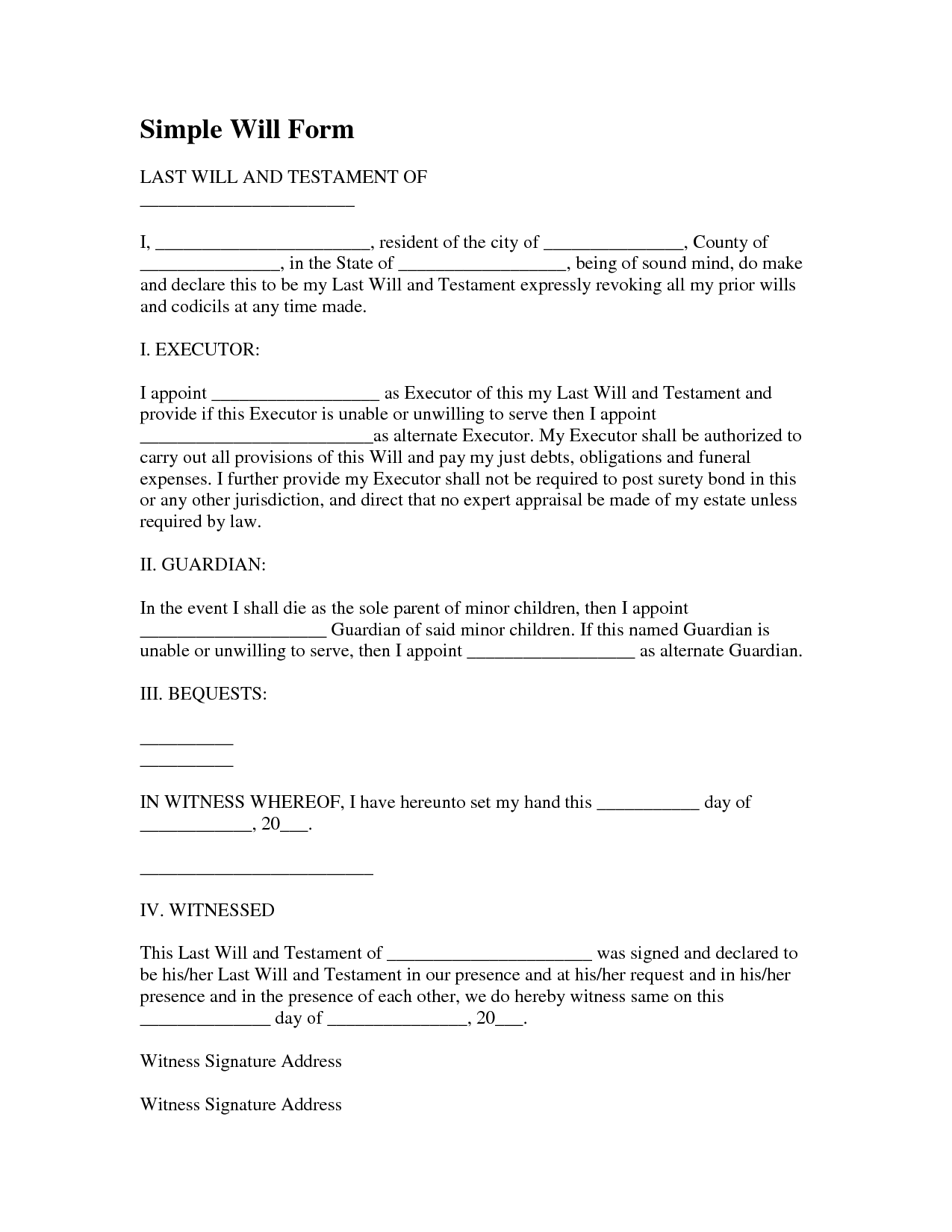 Last Will And Testament Invitation Templates last will and – Will Form