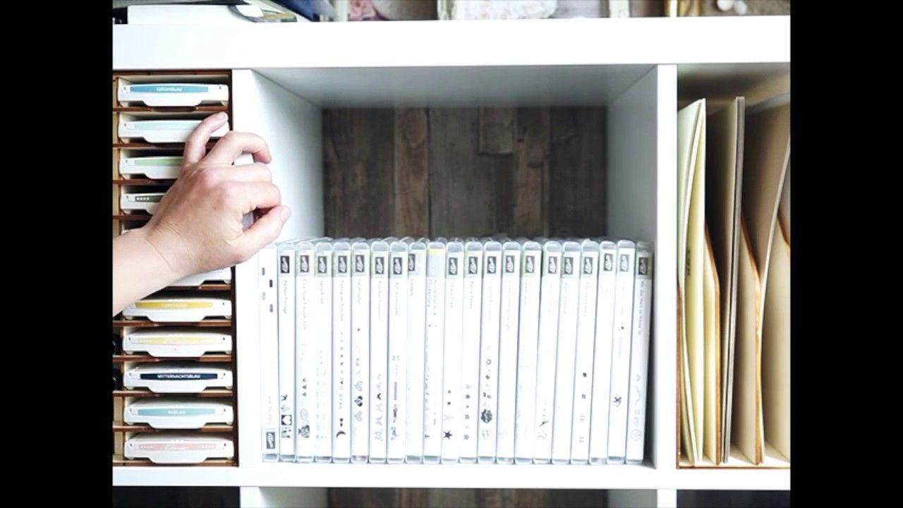 stampin up stempel aufbewahrung im ikea kallax regal dvd box hobbykamer ikea kallax regal. Black Bedroom Furniture Sets. Home Design Ideas