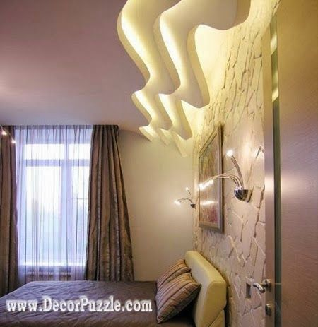 wavy ceiling design with led lights plaster of paris designs 2015