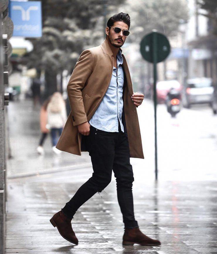 Men'S autumn winter style look: brown coat, jeans shirt