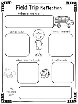 Freebie Field Trip Reflection Form Reflection Activities
