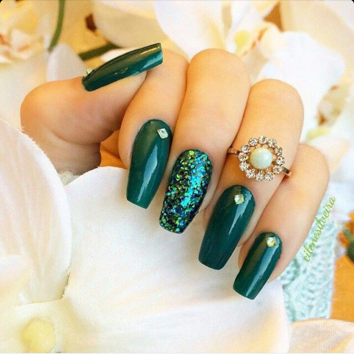 Dark Green Square Tip Acrylic Nails W Rhinestones Glitter