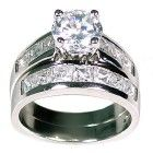 Womens 5.4 carat Sterling Silver Large Solitaire 2 Piece Bridal Wedding Ring Set (sizes 4 to 11)