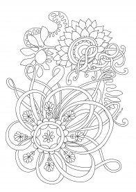 Раскраска для взрослых цветок в саду | Раскраски ...