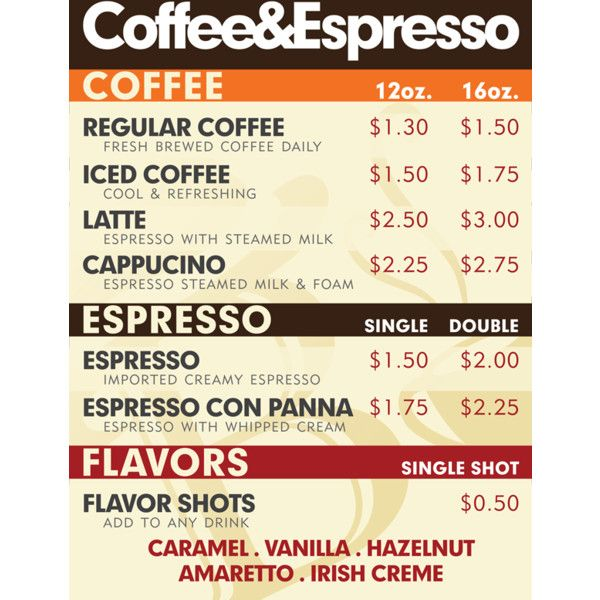 Coffee Shop Menu  Liked On Polyvore  Coffee