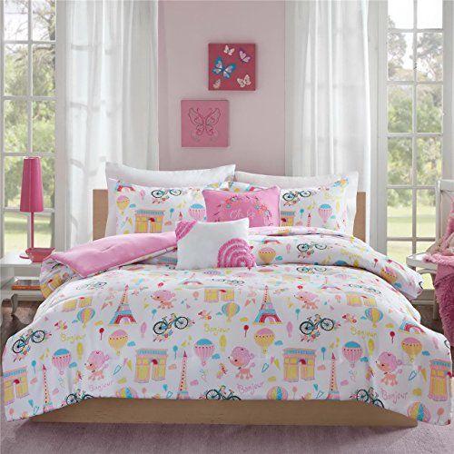Charming Colorful Paris Girls Twin Comforter Set Paris Bedding Comforter Sets Pink Bedding