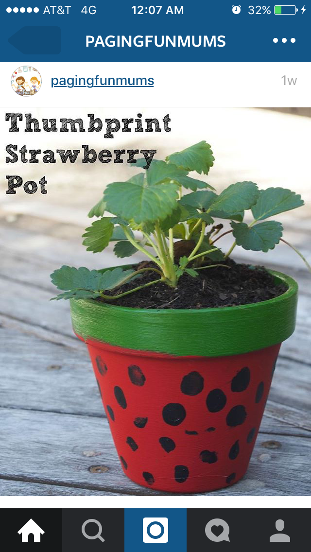 Cute Crafts, Kids Crafts, Painted Plant Pots, Gardening With Kids,  Strawberry Pots, Project For Kids, Project Ideas, Garden Pots, Kid  Activities