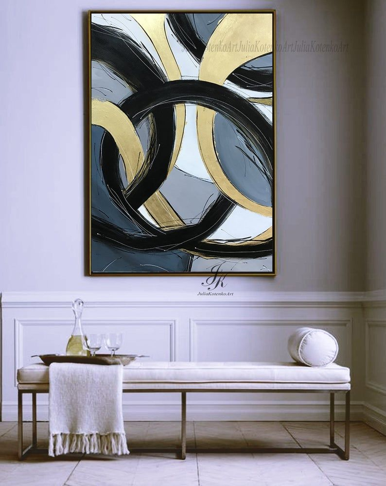 Large Abstract Oil Painting Oversize PaintingGold Leaf Painting Black Painting Wall Art Canvas Original Abstract Painting by Julia Kotenko