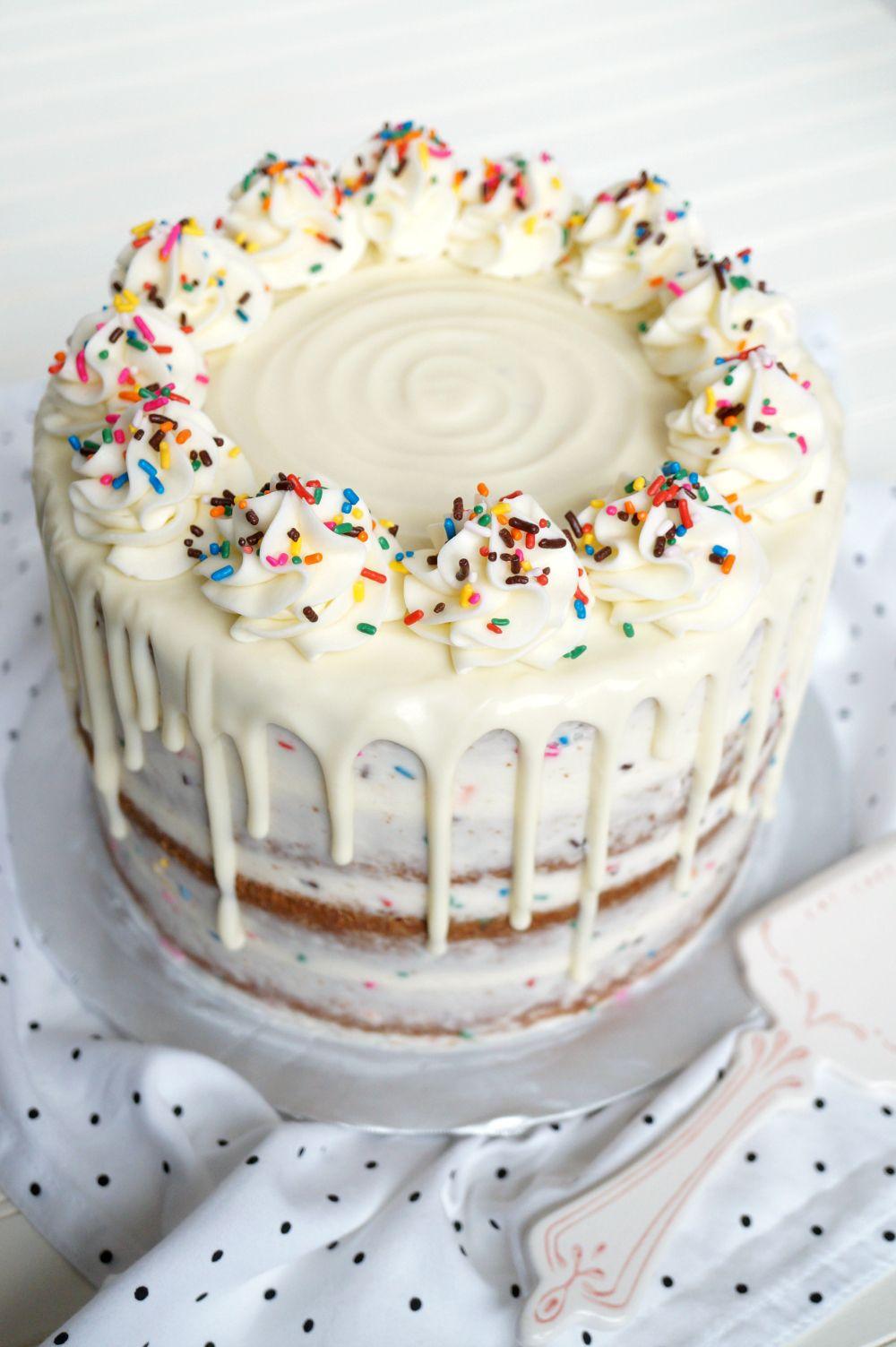 layered confetti drip cake | The Baking Fairy