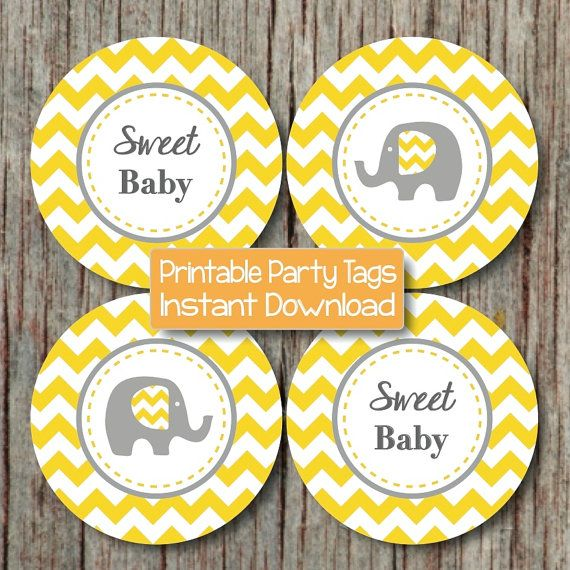 Wonderful Yellow Grey Baby Shower Elephant Cupcake Toppers Favor Tags Stickers By  BumpAndBeyondDesigns, $4.00