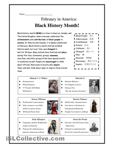 Free Printable Black History Worksheets | Black History Month ...