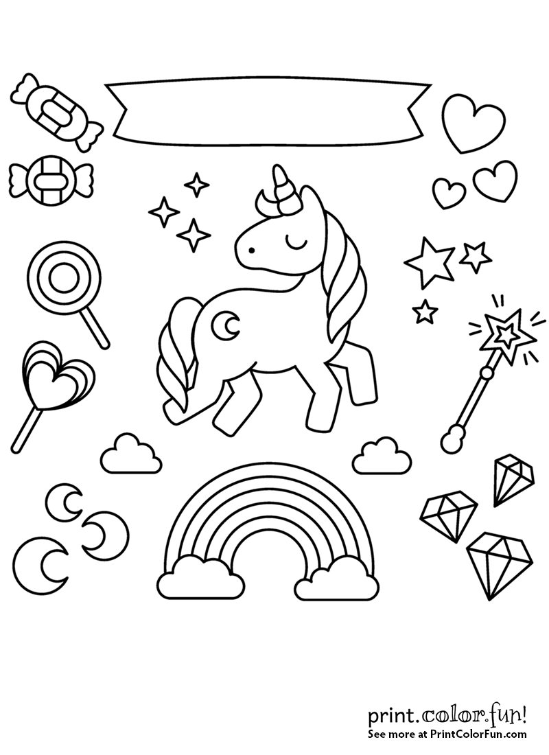 Unicorn with rainbow, stars and candy Candy coloring