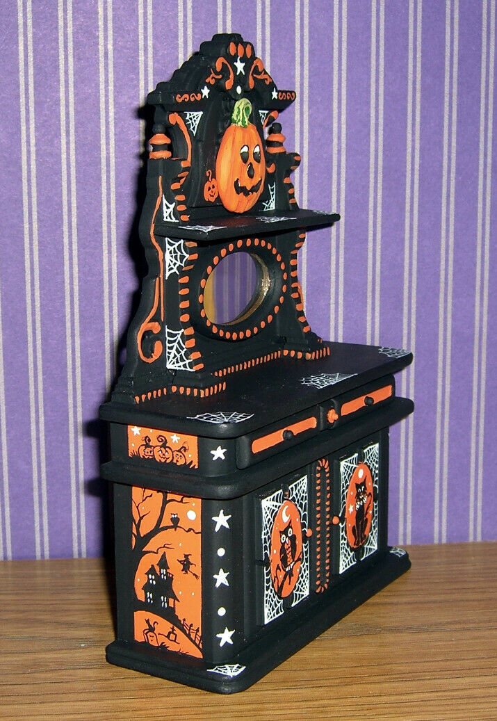 Halloween Witch And Cat Miniature Dollhouse Picture