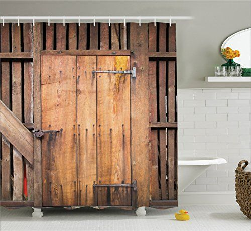 Wooden Barn Door Shower Curtain By Ambesonne Rustic Deco Https