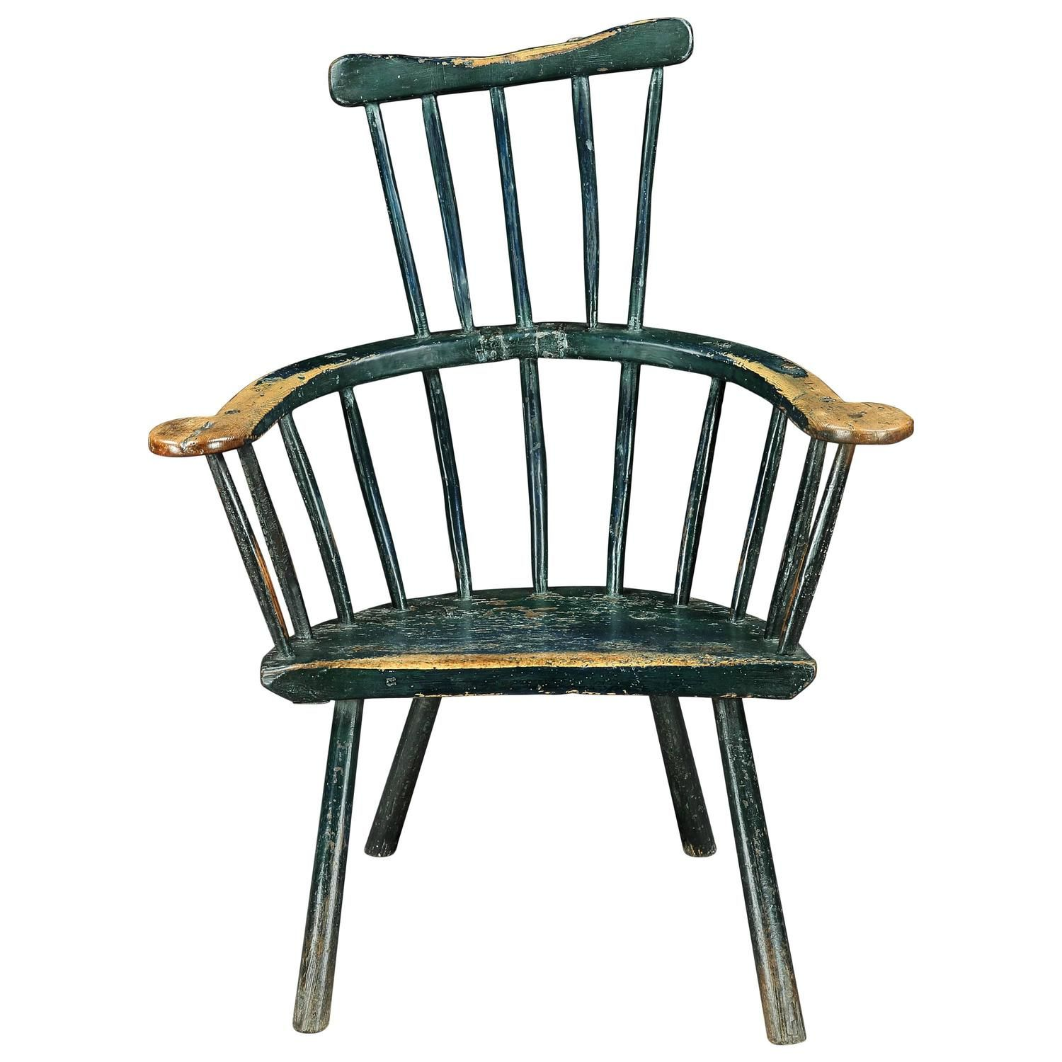 18th Century Primitive Comb Back Windsor Chair | From a unique collection  of antique and modern - 18th Century Primitive Comb Back Windsor Chair Windsor F.C.