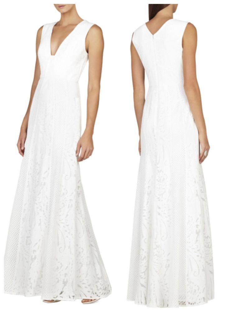NEW BCBG White ELISIA Sleeveless Lace-Blocked Gown 12 $498 LSS66C54 ...