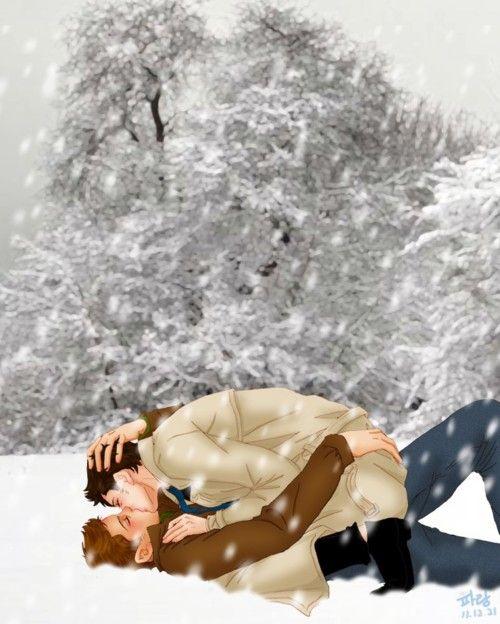 Snow smooching