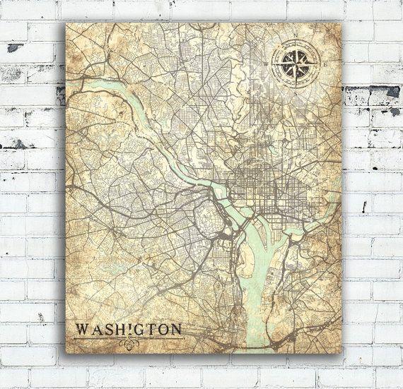 WASHINGTON DC Columbia Vintage map Washington City Columbia